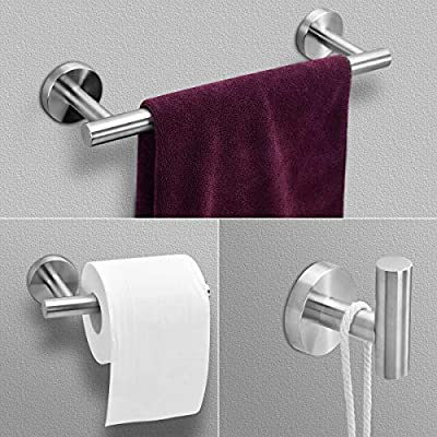 ArgoHome 3-Pieces Set Brushed Nickel Bathroom Hardware SUS304 Stainless Steel Round Wall Mounted