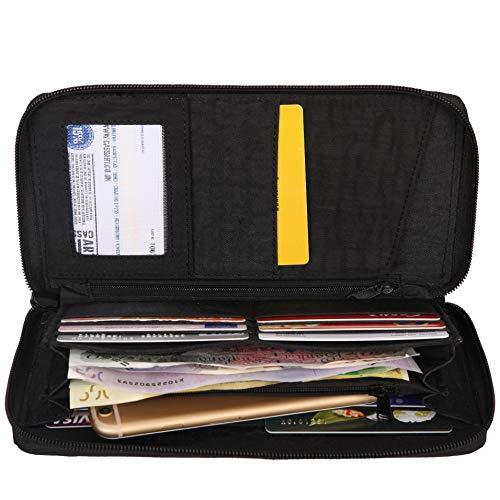 Zwart Travel Zip zwart Portefeuilles document Portemonnee Round Dames Artsac a0ERxwBx