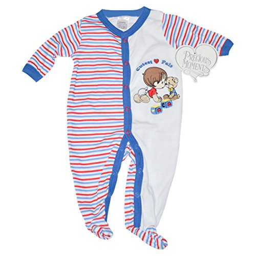 Precious Moments Baby Boys Bodysuit - Cutest Pals, Boy with Teddy Bear (6-9 Months) ()