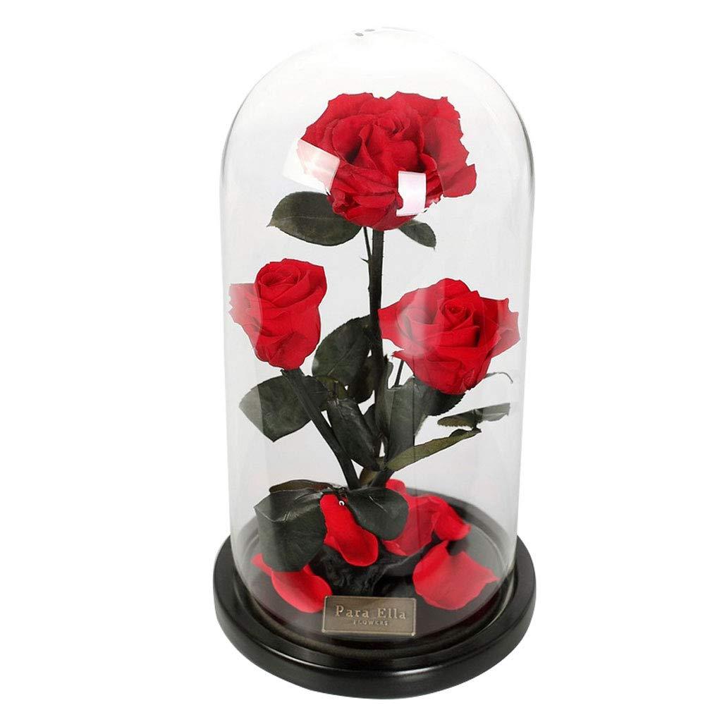 永遠の花ローズギフトボックス母の日ギフト保証フラワーグラスカバー (色 : Red) B07JN4VG1X Red