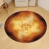 Gzhihine Custom round floor mat Horror House Decor Demon Trap Symbol Logo Ceremony Creepy Ritual Fantasy Paranormal Design Bedroom Living Room Dorm Orange