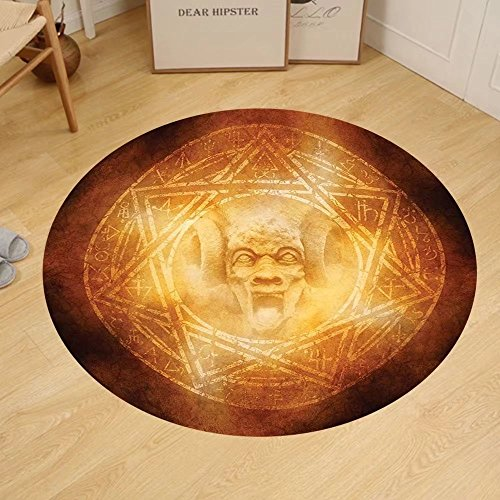 Gzhihine Custom round floor mat Horror House Decor Demon Trap Symbol Logo Ceremony Creepy Ritual Fantasy Paranormal Design Bedroom Living Room Dorm Orange by Gzhihine