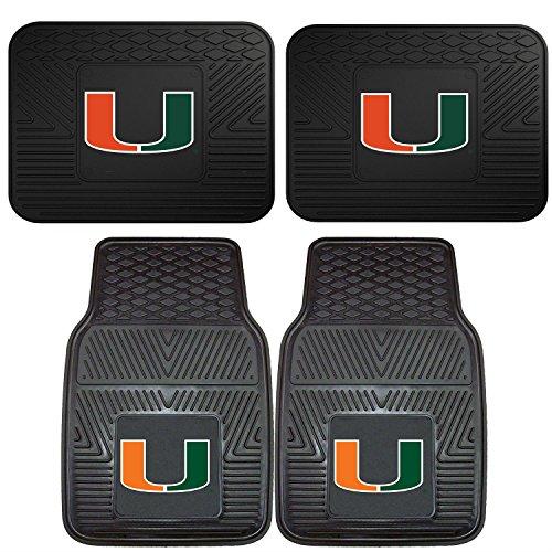 FANMATS NCAA University of Miami Hurricanes Set of 2 Vinyl Utility Mat with Vinyl Heavy Duty Car Mat