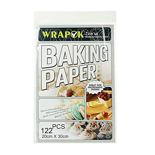 WRAPOK Parchment Baking Paper Liners Sheets Pre-Cut Non-Stick for Bakeware Pans-8×12 Inch, 122 Sheets a Pack