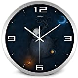 Airinou Cartoon Creative Alien Scientist Movie Wall Clock for Kid Children Bedroom No Ticktock Sound (14inch, Silver)