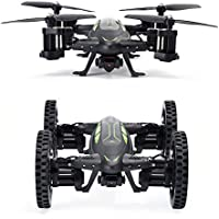 QQPOW Remote Control Flying Car and Drone with 2.4GHz RC Quadcopter Headless Mode, 3D Flip with HD Camera