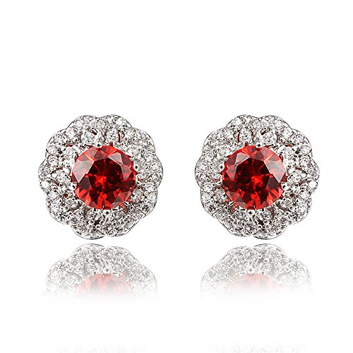White Gold Plating Stud Earring with Colorful (Stone Brass Matches)
