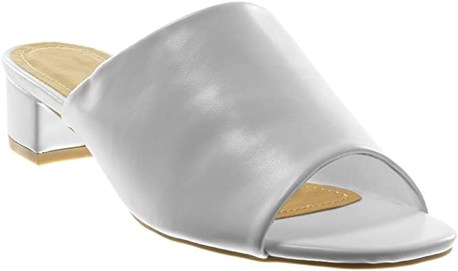 Angkorly Chaussure Mode Sandale Mule Slip on Femme Talon Haut Bloc 4 CM