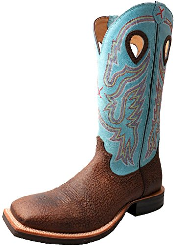 Twisted X Men's Light Blue Ruff Stock Cowboy Boot Square Toe Brown 12 D(M) US