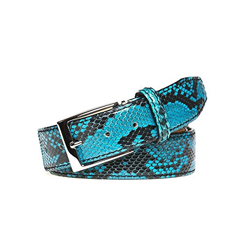 Turquoise Python Leather Belt by Roger Ximenez: Bespoke Maker of Fine Leather Goods