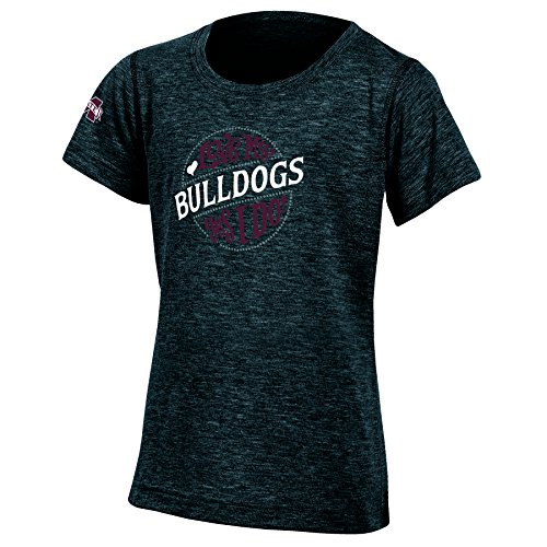 Champion NCAA Mississippi State Bulldogs Youth Girls Fashion Fit Short Sleeve, Large, Black Heather