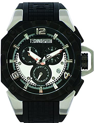 TechnoSport TS-104-3 Unisex Black Silicone & Stainless Steel Band, Black Bezel, 40MM Black and White Dial,Stainless Steel Chronograph (Gold Mercer Watch)