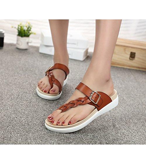 Scothen Sandalias de tacón Casual tarde Peep Toe mujeres de las sandalias planas de la hebilla de las sandalias romanas sandalias planas del Rhinestone correa del clip zapatos deslizadores de Bohemia Brown