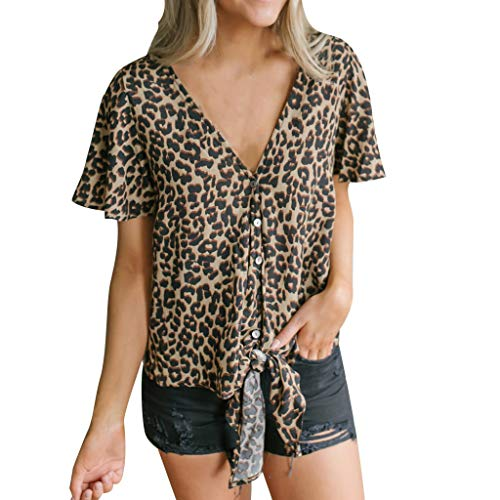 Womens Shirts Short Sleeve Leopard Print Button V-Neck Lace-Up T-Shirt Casual Top (M, Black) ()