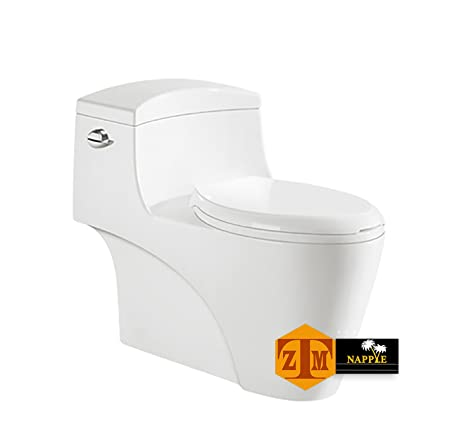 NAYT98144P Luxury SIPHONIC White Porcelain One Piece Construction Toilet,  With Round Seat And Comfort