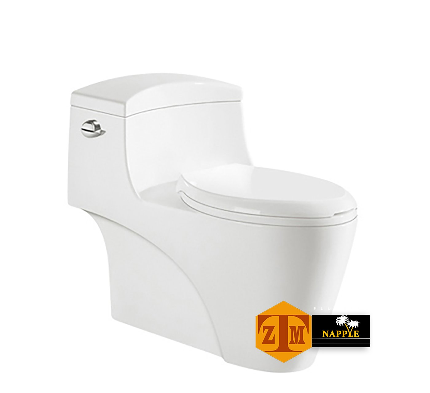 NAYT98144P Luxury SIPHONIC White Porcelain One-Piece Construction Toilet, With Round Seat and Comfort Height, A Siphonic High Efficiency Eco-Friendly Action w/ Dual Flush 1.6/1.0GPF, UPC Certified