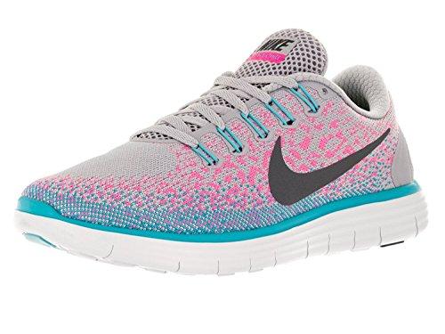 Nike Women's Free RN Running Shoes, Grigio/Grigio/Rosa (Wolf Gris/Gris Oscuro/explosi?n rosada), 35.5 B(M) EU/2.5 B(M) UK