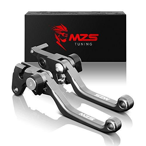 MZS Pivot Levers Brake Clutch CNC compatible Kawasaki KX250F 2013-2018/ KX450F 2013-2018/ KX250 2019 (Gray)