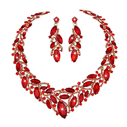 - Youfir Women's Elegant Austrian Crystal Necklace and Earrings Jewelry Set for Wedding Dress(Red)
