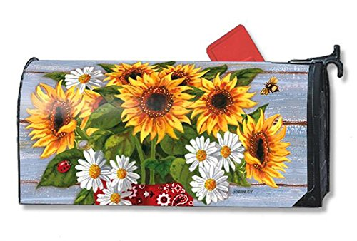 Sunflowers Reproduction - MailWraps Bandana Sunflowers Mailbox Cover #01095