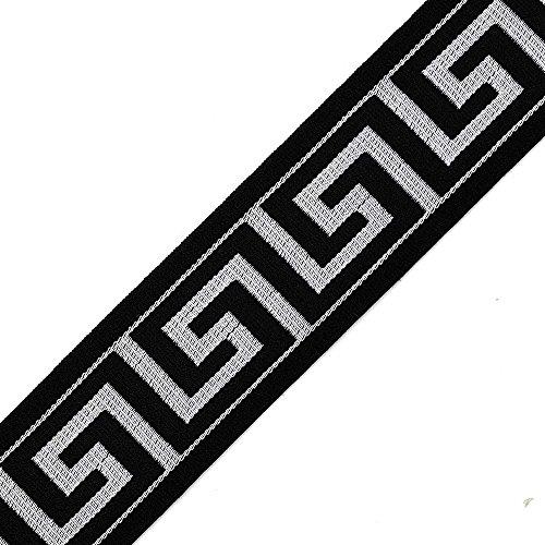 (Trim 5-Yards 40mm Greek Key Elastic Silver Stretch Ribbon, Stretch Elastic Band, Headband, Hand Band and Waist Belt, TR-11375)