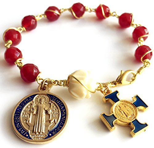 elegantmedical Gold Wire Wraped Red Agate Beads Bracelet Rosary Cross Medal Box Catholic