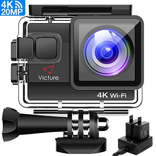 (Victure 4K Action Camera 20MP WiFi Underwater Camera Diving 40 Meter Waterproof Sport Cam with 2 Rechargeable Batteries and Multiple Accessories for Biking Snorkeling Surfing)