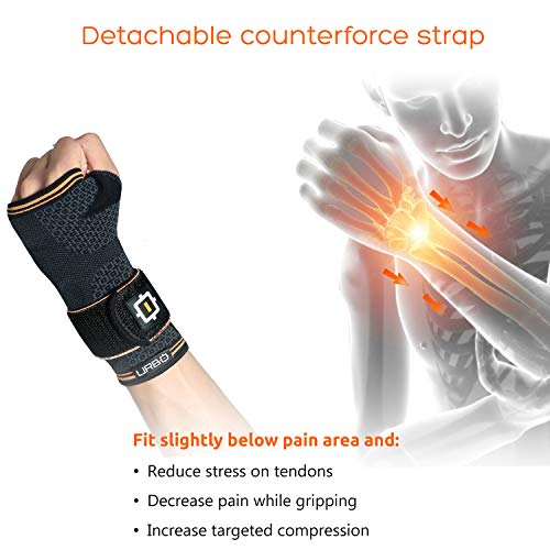 Urbo Wrist Compression Brace FDA & CE Approved with Ergonomic Support for Computer Use Problems Like Carpal Tunnel Syndrome, Mouse Wrist, Tendinosis & Other Repetitive Strain Injuries (Medium, Left)