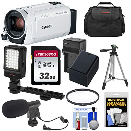 Canon Vixia HF R800 1080p HD Video Camera Camcorder (White) with 32GB Card + Battery & Charger + Case + Filter + Tripod + LED Light + Microphone Kit