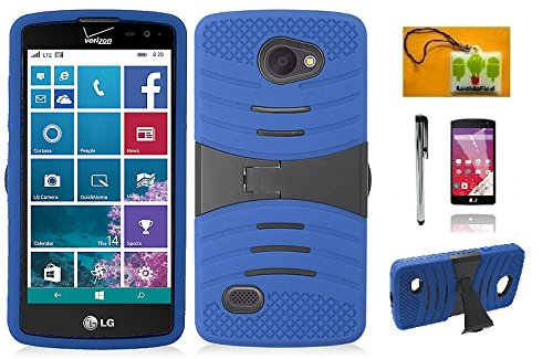 LG Lancet VW820 (Verizon), LF 4 in 1 Bundle - Hybrid Dual Layer Armor Case with Stand, Lf Stylus Pen, Screen Protector & Droid Wiper Accessory (Armor Blue)