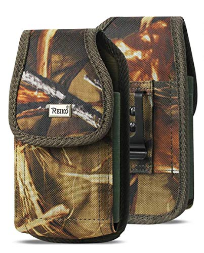 Outdoor Vertical Hunting Camo, Compatible w/iPhone XR X MAX 8 Plus, 7 Plus,6S Plus Extra Large Rugged Outdoor Tactical Carry Pouch Holster Belt Clip Fit iPhone with Lifeproof Defender Heavy Duty Case - Case Phone Fit