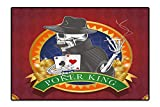 Perfect Kitchen Rugs Casino Background with Dead Skeleton Poker King Gambler Vegas Smart Game Graphic Color for Home and Office 4'x5'
