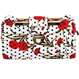 Show Story Women's Girls White Black Polka Dots Red Floral Fashion Outdoor Clutch Handbag Bag Purse,FB90018WT, Floral White
