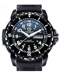 Mens Tritium Luminous Watches Nighthawk Analog Quartz Sapphire Glass Black Rubber Strap Watch