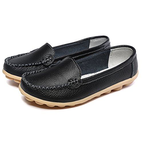 SCIEN Frauen Casual Loafers Echtes Leder Driving Mokassins Slip-On Flache Schuhe Schwarz