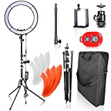 Emart Ring Light Photo Video Lighting Kit, 18 inch 55W 5500K Dimmable LED Circle Light for Photography Portrait Shooting, Light Stand,Plastic Color Filter Set,Hot Shoe Adapter and Bluetooth Receiver