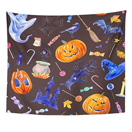 Emvency Wall Tapestry Pumpkin Jack O' Lantern Lollipop Castle Bat Spider Broom Candle Tree Crow Autumn Leaves and Candy Halloween Decor Wall Hanging Picnic Bedsheet Blanket 60x50 Inches]()