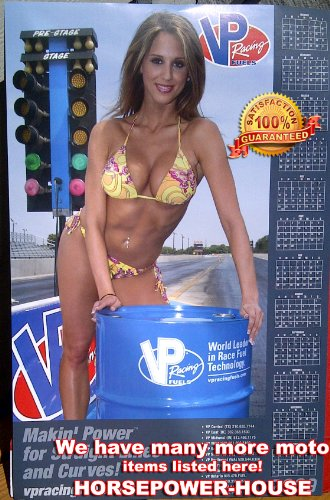 VP Racing Fuels Fuel 2009 13x20 Inch Pin-Up Poster for Shop Store Drag Race Track Trailer for Auto Bike Mechanic Calendar Poster Hot Pinup Bikini Pic