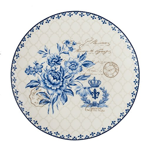 Finecasa New Bone China 8 inch Platter Bread/Butter Plate Salad/Dessert Chinese Style Blue Dream Series set of 1 China Platter