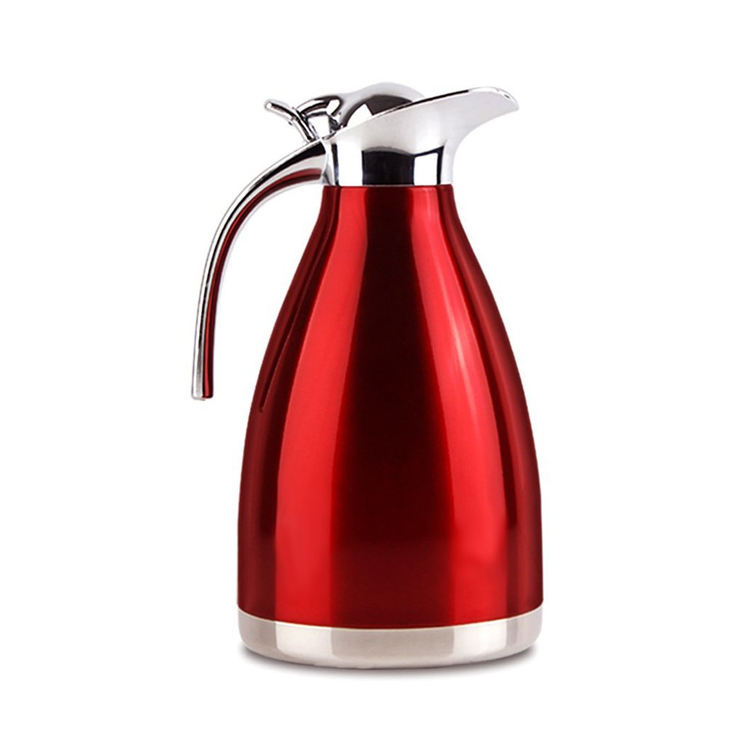 FUNRUI Vacuum Insulated Jug Thermal Carafe Stainless Steel Double Wall Insulation Pot for Coffee Juice Milk Tea Beverages (1L Red)