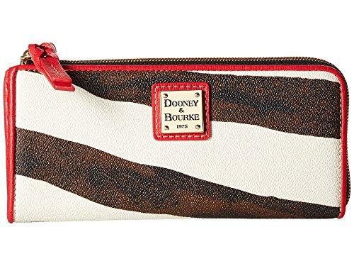 Dooney Bourke Zebra (Dooney Bourke Serengeti Zip Clutch Zebra/Red Trim Clutch Handbags)