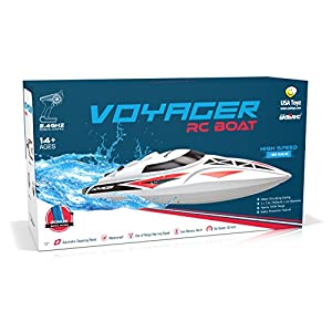 UDI007 Voyager Subtle Control Boat for Pools & Lakes - 2.4GHz High Speed Electric RC Boat – Large Self Righting Radio Controlled Boat w/ BONUS BATTERY