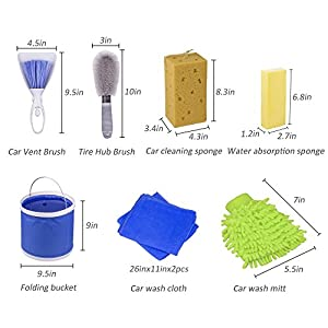 Car Washing Kit, Mooli Car Cleaning Kit with Box /Water Bucket /Tire Brush/Wash Sponge/ Wash Cloth/Car Wash Mitt/Car Vent Brush Gift Set
