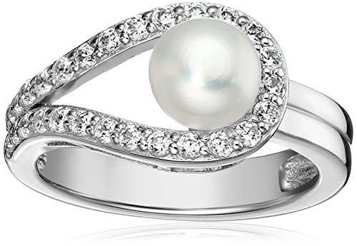Platinum-Plated Sterling Silver Cubic Zirconia Freshwater Cultured Pearl Ring, Size 6 ()