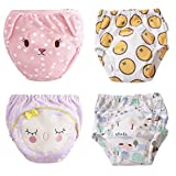 U0U Baby Toddler Girl Toilet Training Pants Nappy Underwear Cloth Diaper (L, Pack 4)