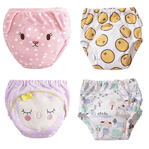 U0U 4-Pack Training Pants for Toddler Girls, Baby Girls Cotton Potty Training Underwear, Waterproof,Adorable and Washable (Purple,Yellow,White?Pink, 4T)
