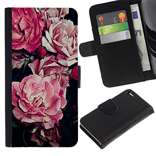 LASTONE PHONE CASE / Luxe Cuir Portefeuille Housse Fente pour Carte Coque Flip Étui de Protection pour Apple Iphone 4 / 4S / begonia pink flower floral pattern black