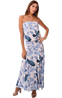 23244da99b Veronica M Dresses Strapless Tropical Printed Dropwaist Maxi Dress -  White/Blue - L