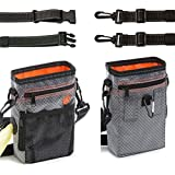 Dog Treat Pouch Training Bag-WaterProof Pet Bag Training Built-IN Poop Dispense with Refelective Adjustable Straps 3 Ways To Wear Shrink Pocket Design Easlily Carries Pet Toys Snack Phones Keys