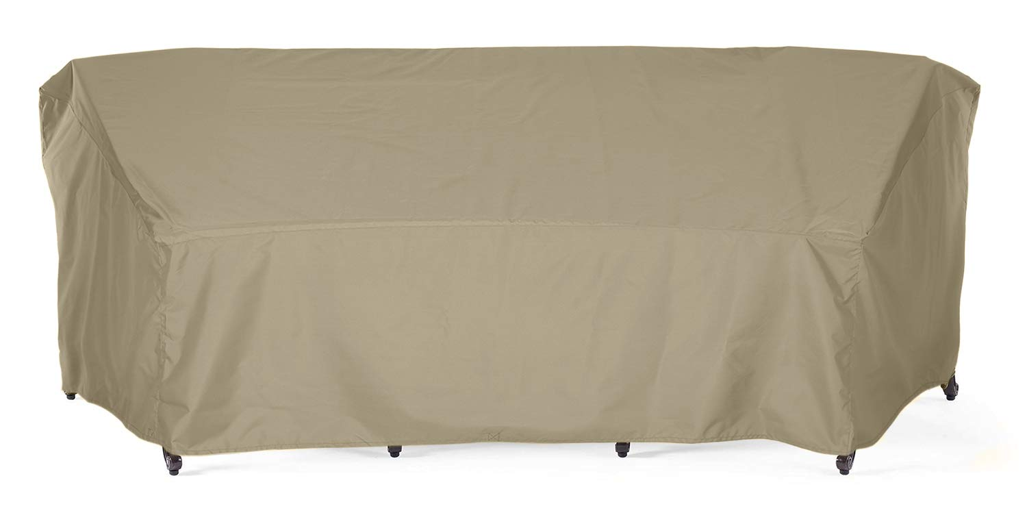 SunPatio Outdoor Crescent Curved Sectional Sofa Cover, 120''L/82''L x 36''W x 38''H, Lightweight, Water Resistant, Eco-Friendly, Helpful Air Vent, All Weather Protection, Neutral Taupe